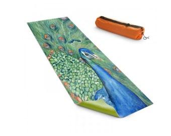 Yoga Mat Peacock Bird Watercolor Painting - Exercise Mat