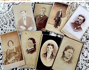 8 Antique Cabinet Cards Photographs CDVs - Instant Collection - Pre civil war