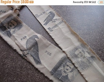 Hand Stamped Fabric Trim - Scrapbooking - Raven Edgar Allan Poe Inspired - Wedding - Gift Decor