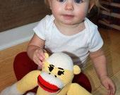 Yellow Sock Monkey Stuffed Animal
