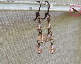 Long Morganite Pink Czech Glass Dangle Earrings, Three Bead Earrings, Long Copper, Dangle, Leverback Earrings, by MagpieMadness for Etsy