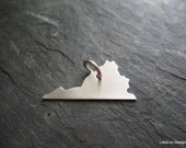 Virginia Necklace Charm, VA State Outline Pendant, Moving Away Gift, Long Distance Present, Homesick Momento, Map Jewelry
