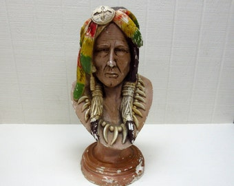 Vintage Carnival Chalkware American Indian Bust