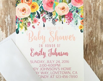 12 floral baby shower invitations with envelopes, watercolor flower baby shower invite, floral banner baby shower invite, 5x7 size