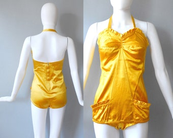 1950s Gold Swimsuit / Halter or Strapless Swimsuit / 50s