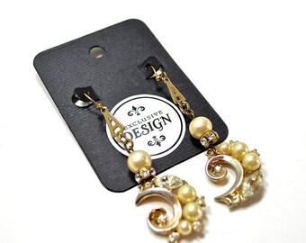 Vintage Pearl & Rhinestone Earrings Handmade Repurposed Jewelry