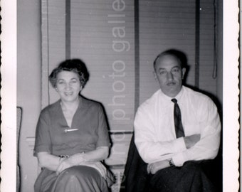 Vintage Photo, Happy Couple, Black and White Photo, Found Photo, Snapshot, Old Photo, Man & Woman, Vernacular Photo     Augustine0517