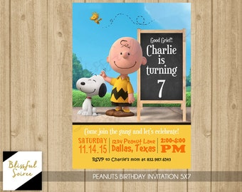 Peanuts Invitation | Peanuts Movie Birthday Invitation | Peanuts | Snoopy | Charlie Brown | Peanuts Party | Peanut Gallery | B06