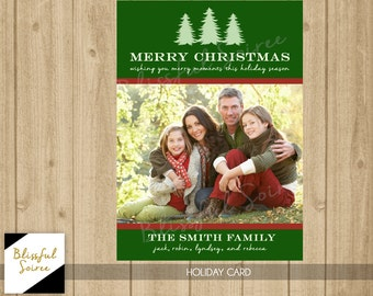 Custom Photo Christmas Card / Digital File / Christmas Card / Holiday Card / DIY Printable / Christmas Tree Card