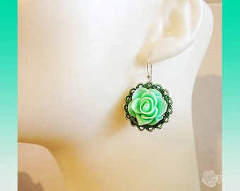 Hook Earrings Lightweight Acrylic Turquoise Aqua Green Blue Rose Fancy Pewter Bead Cap Clear Swarovski Crystal AB Back Sterling Silver Wires