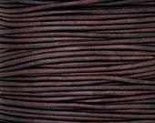 Leather-1mm Round Cord-Soft-Natural Antique Brown-10 Meter Spool