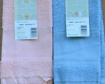 Pair of Peach & Blue Guest Towels - Fringed Edges - Charles Craft  - 100% Cotton - 14 Ct. Aida Insert