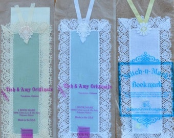 Set of 3 Bookmarks - Assorted Colours - 18 Count - Blue, Green White