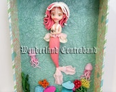 NEW - Lippy the Mermaid - ORIGINAL OOAK Miniature Sculpture - Wall Decor