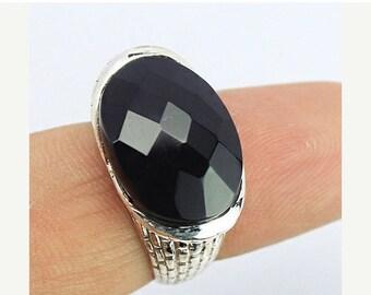 VALENTINE SALE 55% Black Onyx Sterling Silver Ring 1340RG