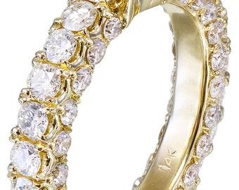 14K Yellow Gold Asscher Cut Diamond Engagement Ring Prong 2.90ctw G-VS2 EGL USA