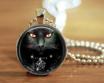 Wiccan  Cat Necklace, Cat Jewelry, Gift for Her, Gift for Him, Wiccan Cat Pendant, Wiccan Jewelry