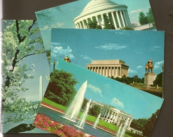 Washington DC – 4 Postcard Collection – Bright Clean Unused Vintage Chrome Postcard – Perfect for a Travel Journal