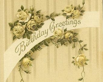 Vintage John Winsch Birthday Postcard ~ White Rose Garland and Birthday Verse 1915