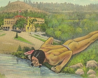 Chief Health Water at Richardson Springs Deckle Edge Vintage Linen Postcard