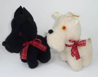 Vintage Pair of Stuffed Dogs Black Scottie White Westie Animal Playland Plush with Plaid Bow
