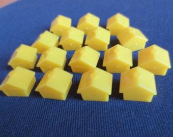 16 Yellow Plastic Monopoly Houses