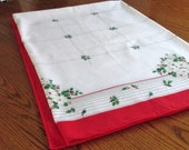 Vintage Poinsettia on White Christmas Tablecloth Green Leave and White Flowers