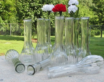 Clear Glass Bud Vases Set of 12 For Wedding or Table Decor Holiday Table Flower Vases