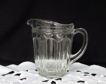 Vintage Pressed Glass Pitcher Clear Ribbed Syrup Creamer Farmhouse Table