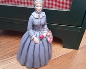 Lady Figurine Turn of the Century with Basket of Roses //Free Shipping in USA