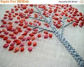 On Sale Spring Tree, hand embroidered, hoop art, home decor, wall wear, nursery decoration in pink & coral, baby girl gift, embroidery by ml