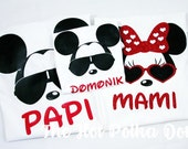 4 Pack Family Shirts - Cool Minnie and Cool Mickey Disney World Vacation Family Matching Shirts - Mami, Papi, Son, Daughter Family Shirts