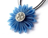 Blue Flower Statement Pendant Kanzashi Necklace