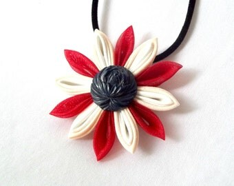 Statement Necklace with Folded Fabric Flower Pendant in Red White and Navy
