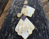 Vintage Mother of Pearl Long Victorian Antique Style Pierced Earrings Art Nouveau Style Vintage Mother of Pearl Earrings