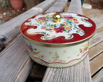 Daher Tin with Lid Red and Floral Round Vintage Tin Container with Lid