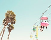 Clearance Sale, Santa Cruz California, Boardwalk, Sky gliders, Palm Trees, Nursery Room, 8x10 Print, Affordable Art, Retro Inspired, Pastel