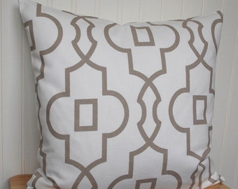 Geometric Pillow Cover, Geometric Throw Pillow, Taupe Pillow Cover, 18x18 Throw Pillow, Geometric Cushion Cover