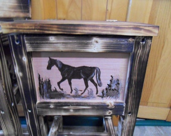 rustic horse table, nightstand, endtable, solid wood made in Maine