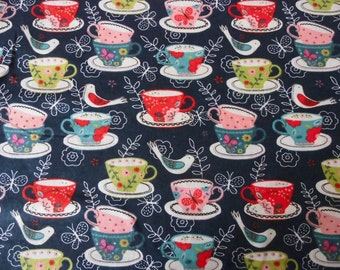 Fabric Cotton Flannel sewing or Quilting Farbric-Tea Cups-By the Yard