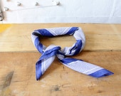 Blue and White Cotton Scarf • Striped Scarf • Polka Dot Scarf • Square Scarf Kerchief • Neckerchief • Vintage Hankerchief  | SC199