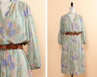 Floral Peasant Dress L • Pastel Floral Dress • Flowy Summer Dress • Floral Summer Dress • Boho Floral Dress • Leslie Fay Dress | D486