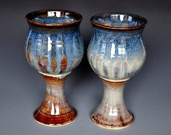 His and Her Goblets Pair of Pottery Goblets Blue Ceramic Wine Goblet Stoneware Chalice BB