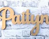 Custom Wood Name Sign - Home decor wall hanging script font for children's bedroom, nursery, playroom, custom made
