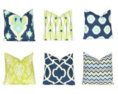 Blue Pillows, Decorative Throw Pillow Covers, Navy Pillow, Blue Pillow, Ikat Pillow Covers, Chevron Pillow Covers, Feathers
