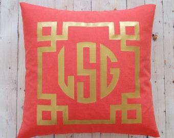 Personalized Gift - Monogram Pillow - Metallic Tribal - Dorm Decor - Dorm Pillow - Decorative Pillow - Personalized Pillow - Monogram Gift