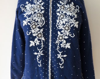 Vintage 1950's/Beaded Sweater Large/Navy Beaded Sweater/Blue Beaded Sweater/Navy Blue Beaded Cardigan/Navy Beaded Cardigan Large