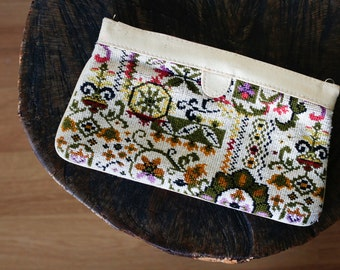 1970s Funky Boho Cream Green Purple Floral Tapestry Carpet Rug Clutch Pouch Purse.