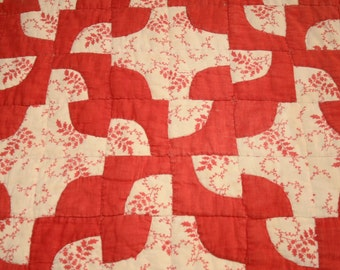 """Red and Cream """"Wanderer's Path in the Wilderness"""" 19th Century Antique Quilt Piece - 25 x 18 Inches"""
