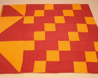 Bold Graphics Classic Turkey Red and Cheddar Antique 19th Century Quilt Piece - 27 by 22 Inches